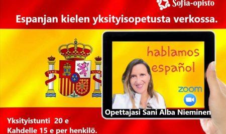 Espanjan kielen yksityistunteja verkossa